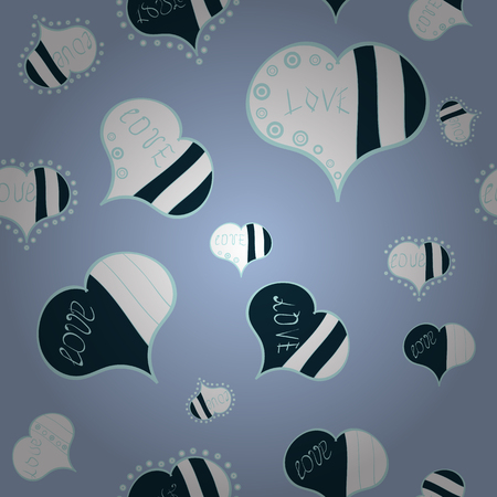 Vector illustration. Pattern for wrapping, cover, background, surface print. Seamless raster love pattern with hearts. Endless background with hand drawn figures on blue, white and neutral colors.