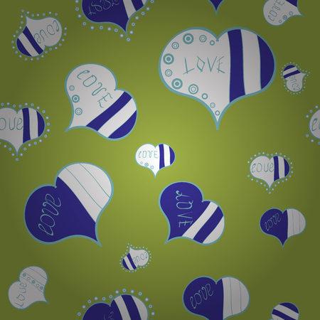 Vector illustration. Valentines day hearts. Green, blue and white. Texture background texture.