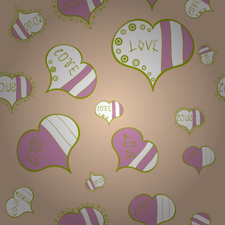 Vector pattern for your creativity. Seamless festive texture with doodle hearts and love inscription. Elements beige, white and pink colors on background.