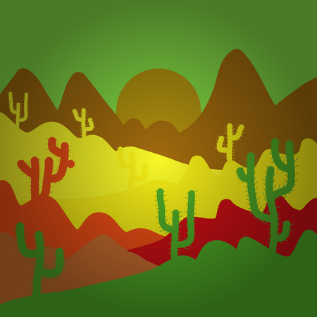 Exploring Africa. Mountains. Desert trip. Back to nature. Birds. Design on green, yellow and brown colors. Extreme tourism and traveling. Vector illustration. Sands. Horizon line with sky.