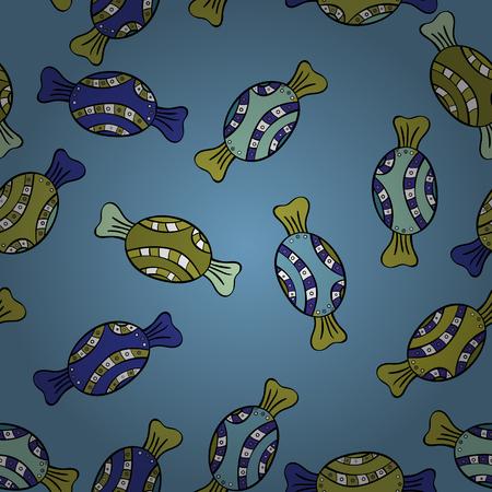 Modèle sans couture sucré mignon et coloré de bonbons sur fond bleu, jaune et noir. Illustration vectorielle. Isolé. Version bleue, jaune et noire.