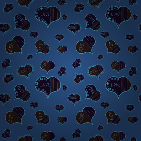 Seamless Love pattern. Love background. Vector illustration. Background of big and small hearts with swirls in blue, gray and brown colors.