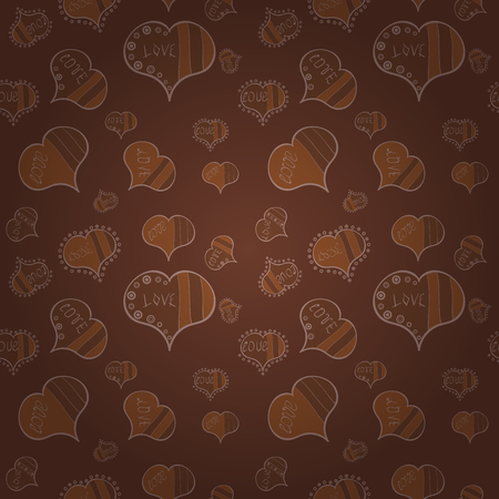 Happy Valentines day. Seamless pattern with realistic beautiful brown, neutral and beige heart. Vector illustration. Love and Holiday theme.