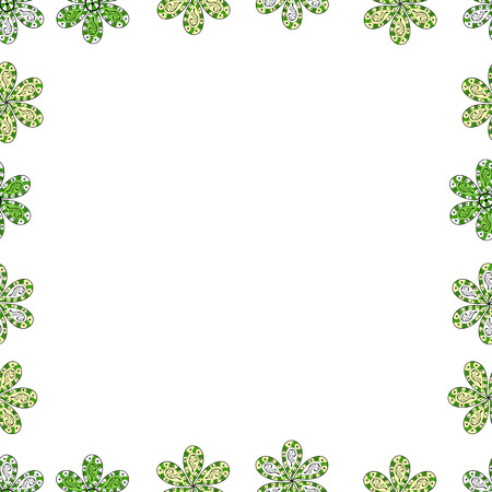 Picture in white, green and beige colors. Quadratic frames doodles. Vector. Seamless.