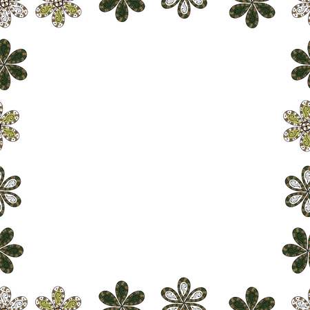 Vintage doodle sketch picture frame doodle labels. Vector. Seamless. Blank white, green and beige square cadre rectangle label elegant sketches painted by hands scribble border. Hand drawn frames.