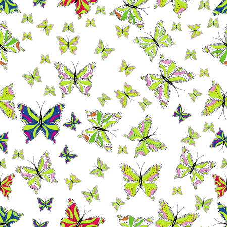 High Quality of nature butterfly. In vintage style. Pictures on white, green and black in water color filter effect. Vector illustration.