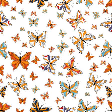 Papillons tendance mignons. Décor agréable folklorique traditionnel de vecteur sur fond blanc, orange et gris pour la conception de vêtements.