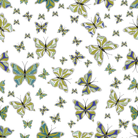 Seamless. Butterfly pattern white, yellow and neutrals. Superb background for design of fabric, paper, wrappers and wallpaper. Vector.
