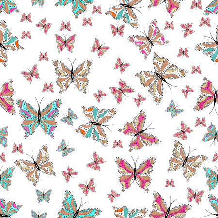 Vector illustration. Illustration for fabric, textile, print and invitation. Seamless. Night cute butterflies on white, pink and blue abstract background. Illustration