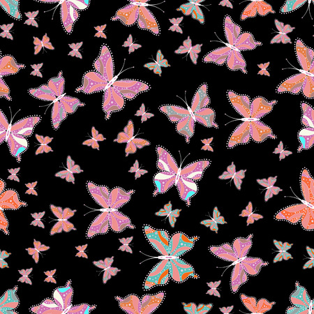 Seamless. Butterfly pattern black, pink and neutrals. Superb background for design of fabric, paper, wrappers and wallpaper. Vector.
