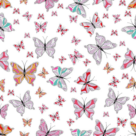 Background for textile, fabric, print and invitation. Seamless pattern with butterflies. Illustration in white, neutral and gray colors. Vector.