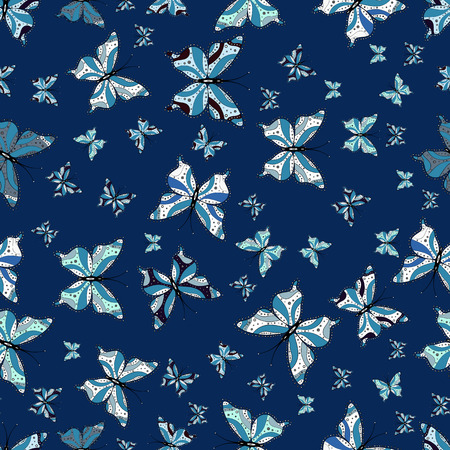 Illustration on blue, white and neutral background. Butterflies pattern. Vector. Seamless. Pattern for fabric, textile, print and invitation.