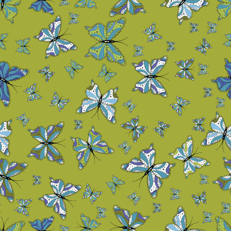 Illustration on green, blue and white colors. Abstract seamless background. Vector butterflies pattern. Fashion nice fabric design.