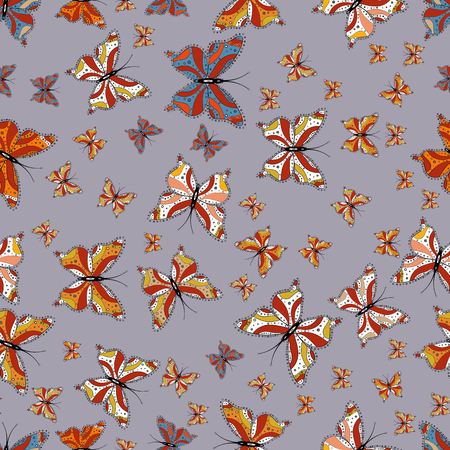 Beautiful seamless pattern of cute butterflies. Fashion Fabric Design. Hand-drawn illustration. Vector. Pictures in gray, orange and white colors.
