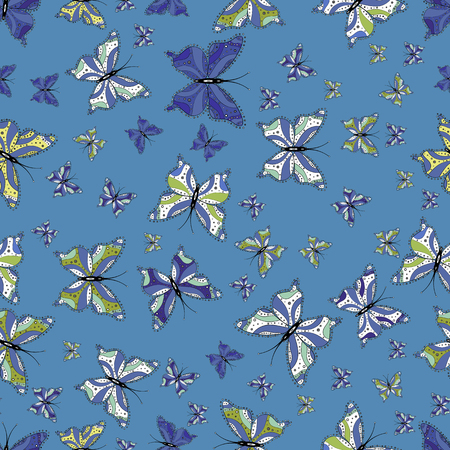 Seamless. Collection of colorful butterfly on blue, white and black background. Simple feminine pattern for card, print, invitation. Suitable for paper, fabric, packaging. Vector illustration.
