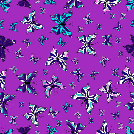 Illustration on violet, blue and white background. Seamless. Pattern for fabric, textile, print and invitation. Butterflies pattern. Vector.