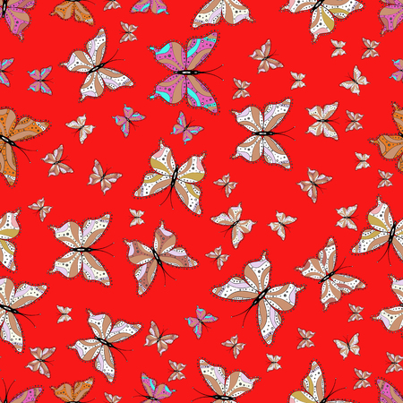 In simple style. Background. Abstract cute butterfly on red, pink and white colors. Vector illustration.