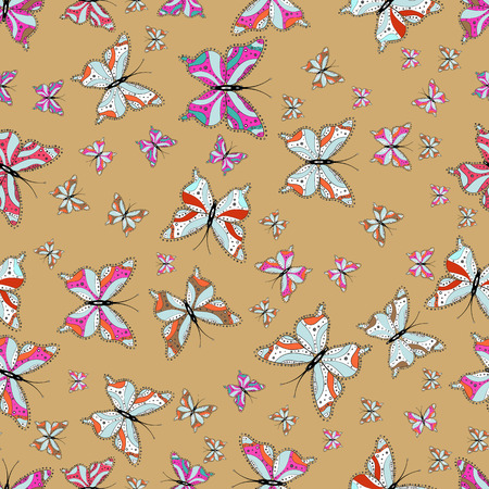 Illustration in beige, neutral and white colors. Vector illustration. Seamless pattern of Hand Drawn silhouette butterflies with watercolor texture. In vintage style.