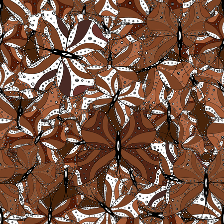 Brown, white and black butterflies. Exotic animals. Superb background for design of fabric, paper, wrappers and wallpaper. Vector illustration. Seamless.
