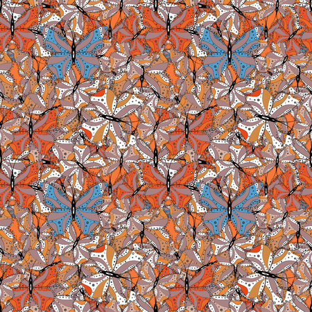 Sketch, doodle, scribble. Repeating insect fabric clipart for clothing fabric. Spring butterfly theme. Endless. Vector design. Lovely seamless butterfly cloth background on neutral, orange and white.