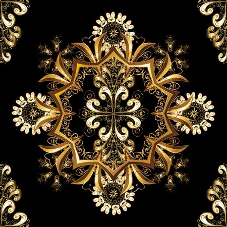 Line art seamless border for design template. Golden element on black, brown and beige colors. Golden outline floral decor. Eastern style element. Vector illustration for invitations, cards, web page.