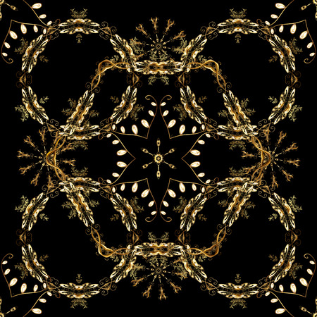 Classic vector golden seamless pattern. Floral ornament brocade textile pattern, glass, metal with floral pattern on black, brown and beige colors with golden elements. Illustration
