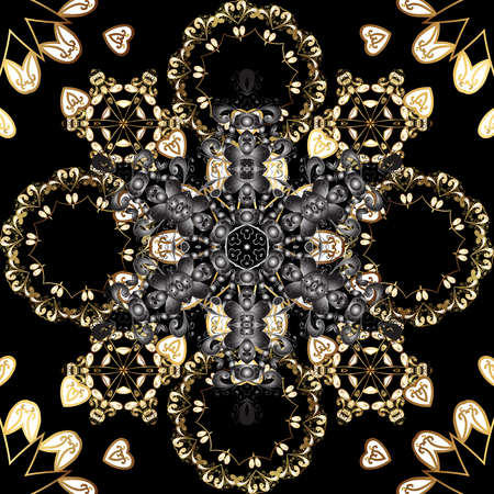 Seamless oriental ornament in the style of baroque. Vector traditional classic golden seamless pattern on black, gray and white colors.