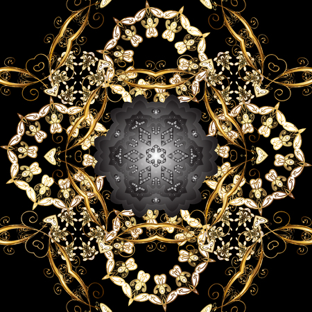 Seamless oriental classic golden pattern. Vector abstract background with golden repeating elements on a black, gray and brown colors.