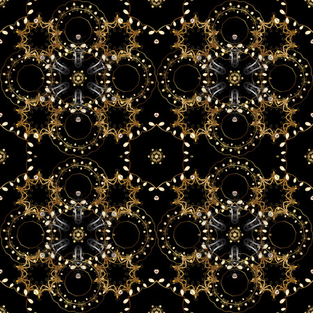 Classic vector golden seamless pattern. Floral ornament brocade textile pattern, glass, metal with floral pattern on black, brown and beige colors with golden elements. Vectores