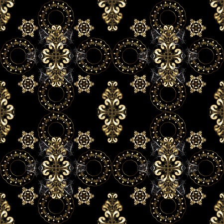 Golden pattern on a black, gray and brown colors with golden elements. Vector vintage baroque floral seamless pattern in gold. Luxury, royal and Victorian concept. Ornate decoration.