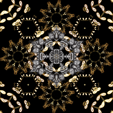 Floral classic texture. Gold template. Seamless pattern golden elements. Design vintage for card, wallpaper, wrapping, textile. Royal retro on black, gray and brown colors. Vector illustration. 일러스트