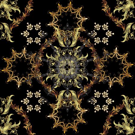 Patrón clásico vector elegante. Fondo abstracto sin fisuras con elementos repetidos. Patrón negro, marrón y gris y dorado.