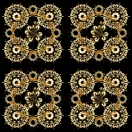 Antique golden repeatable wallpaper. Golden element on black, brown and beige colors. Golden floral ornament in baroque style. Damask seamless pattern repeating background.
