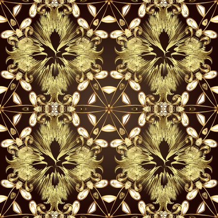 Vector illustration. Good for greeting card for birthday, invitation or banner. Gold on brown, neutral and yellow colors. Decorative symmetry arabesque. Ornamental medieval floral royal pattern.