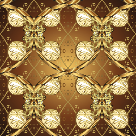 Vector seamless pattern on brown, yellow and beige colors with golden elements. Damask seamless pattern for design. Иллюстрация