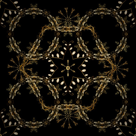 Seamless royal luxury golden baroque damask vintage. Vector seamless pattern with gold antique floral medieval decorative, leaves and golden pattern ornaments on black, brown and beige colors. 向量圖像