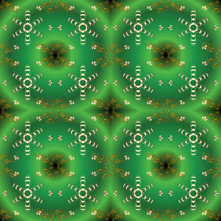 Vector seamless pattern on green, brown and yellow colors with golden elements. Damask seamless pattern for design.