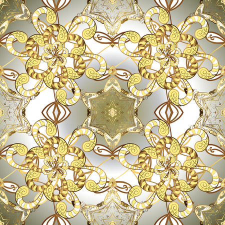 Gold template. Design vintage for card, wallpaper, wrapping, textile. Ornamental pattern golden elements. Vector illustration. Floral classic texture. Royal retro on yellow, white and gray colors.
