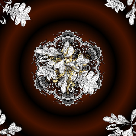 Vector colored snowflakes design decorative Christmas element on a brown, black and white colors.