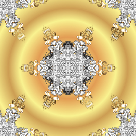 Vintage baroque floral ornamental pattern in gold over yellow, beige and white. Golden element on yellow, beige and white colors. Ornate vector decoration. Luxury, royal and Victorian concept.