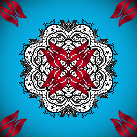 Vector colored snowflakes design decorative Christmas element on a blue, white and red colors. Ilustração