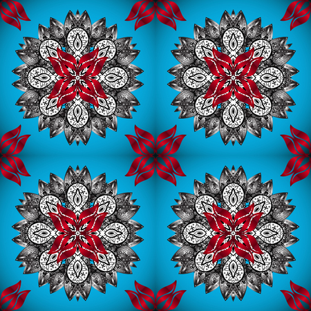 Mandala colored, tribal vintage background with a medallion. Pattern with abstract art flower for Tibetan yoga. Decorative element, indian henna design, retro circle ornament on blue, gray and red.