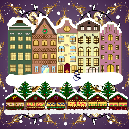 Village winter landscape with snow cove houses and christmas tree with Christmas presents. Vector illustration.