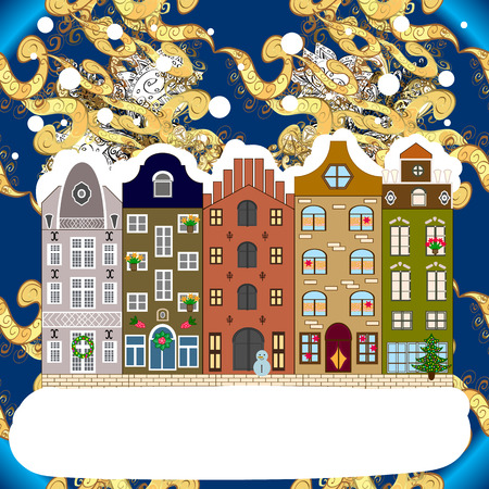 Winter city with white and blue trees, cute houses, sun. Fir-trees. Winter nature landscape. Fabric print. Vector illustration.