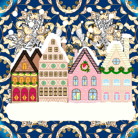 Winter houses, road, tree. Winter in the city, christmas decor fir-trees. Greeting card, poster design. Winter nature landscape. Vector. Cityscape. Vector. New year holidays. Cute town Christmas eve. Ilustração