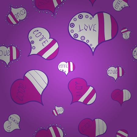 Vector illustration. Sketch heart elements on violet, white and magenta colors. Love repeated backdrop for girl, textile, clothes, wrapping paper. Valentine:s day. Romantic seamless. Иллюстрация