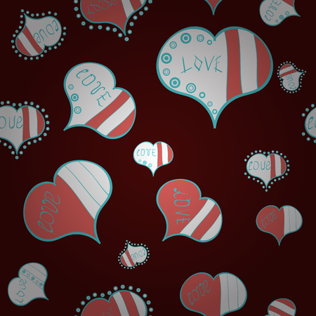 Love and happy designs. Nice hearts love on brown, white and pink colors on cute background. Seamless colorful boho pop art style. Summer style. Ideal for greeting card, label, tag, etc. Vector. Illustration