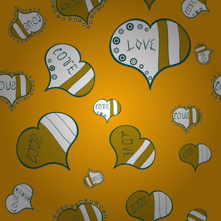 Vector illustration. Love and Holiday theme. Happy Valentines day. Seamless pattern with realistic beautiful yellow, white and green heart.