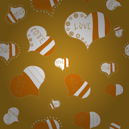Big and small hearts with swirls in yellow, white and orange colors. Vector illustration. Seamless Valentine':s Day with watercolor heart outlines.