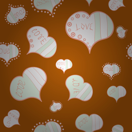 Vector design. Seamless Calligraphic text and special trendy love heart design for Happy Valentine':s day vintage, card, poster background. Romantic background on orange, white and neutral colors.